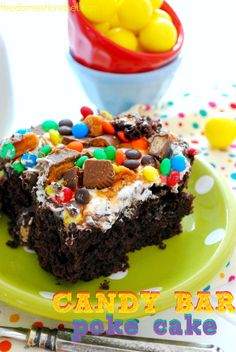Candy Bar Poke Cake - the domestic rebel... I'm pretty sure I just put on 2 lbs by pinning this cake.