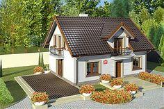 Projekt domu Amor 117,31 m2 - koszt budowy 189 tys. zł - EXTRADOM Modern Bungalow House, Attic House, Good House, Concept Home, Stone Houses, Home Fashion, Future House, Gazebo, House Plans