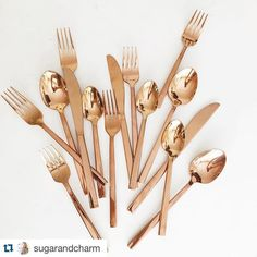 Rose Gold Flatware available for rentals at Grand Event Rentals - www.grandeventrentalswa.com