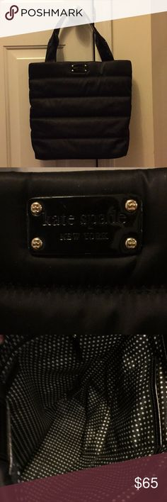 Kate Spade East West Heddy Tote This is an awesome bag!  Very roomy and fits on the shoulder. 100% authentic.  Made of soft satin black material. Quilted to give it a puffy look. You will get compliments👍 kate spade Bags Totes