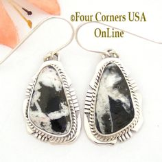 Four Corners USA Online - White Buffalo Turquoise Sterling Silver Earrings Navajo Artisan Kathy Yazzie NAER-1481, $145.00 (http://stores.fourcornersusaonline.com/white-buffalo-turquoise-sterling-silver-earrings-navajo-artisan-kathy-yazzie-naer-1481/)