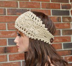 Crochet Headband Pattern, Knitted Headband, Lace Headbands, Handmade Headbands, Crochet Baby Booties, Crochet Beanie, Crochet Symbols, Crochet Patterns, Crochet Gifts