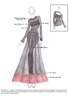 DIY Black Chiffon Anarkali Suit