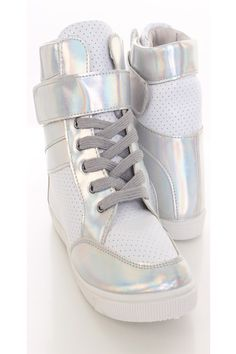 3499c1c77ef Silver Hologram Faux Leather Sneaker Wedges   Sexy Clubwear