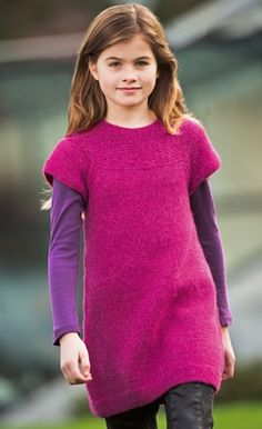 Knit a tunic for a girl - free pattern. 2 - 10 yrs.