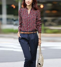 Red Wine Stand Collar Single Breasted Circle Print Shirt @ MayKool.com