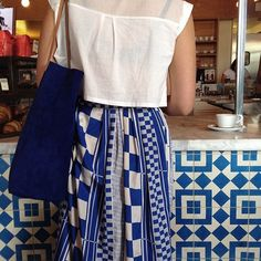 Tea towel dress   Blue and white