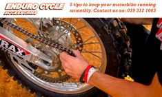 5 Tips to keep your motorbike running smoothly.  1. Keep it Clean.  A dirty motorcycle is just down right unpleasant. Not only does it cover up the information console and other lights, dirt also builds up and collects in all the nooks and crannies. This leads to a lot of unwanted dirt in all the wrong places, make sure to get your motorcycle cleaned after each ride.    2. Tyre Pressure.  Keeping the tyre's at the correct pressure is crucial if you want to achieve a good fuel economy. If a… Motorcycle Cleaner, Sudden Impact, Motorbike Parts, Wheel Alignment, Ride 2, Riding Gear, Brake Pads, Fuel Economy, Safety Tips