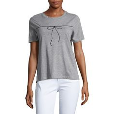 Vero Moda Women's Embroidered Bow Tee ($25) ❤ liked on Polyvore featuring tops, t-shirts, light grey, embroidered t shirts, embroidered top, crewneck tee, crew neck t shirt and light grey t shirt