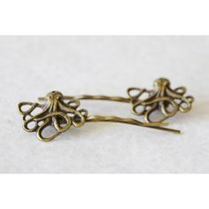 Octopus Hair Clips Squid Bobby Pins Antiqued Brass Nautical Hair Clips... (38 AUD) ❤ liked on Polyvore featuring accessories, hair accessories, decorative combs, grey, hair clip accessories, hair comb, hair clip comb, hair comb accessories and barrette hair clips