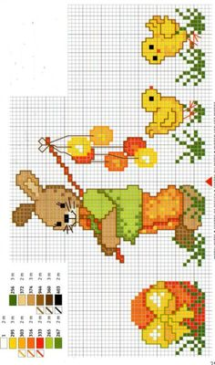Bunny and chicks Xmas Cross Stitch, Butterfly Cross Stitch, Cross Stitch Heart, Cross Stitch Cards, Cross Stitch Animals, Cross Stitching, Cross Stitch Embroidery, Cross Stitch Designs, Cross Stitch Patterns