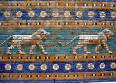 """Lions from the Ishtar Gate, Babylon, ca. 575 BC. Now in Pergamon Museum, Berlin. """"Berlín - Pergamon - Porta d'Ishtar - Lleons"""" by Josep Renalias. Own work. Licensed under Creative Commons Attribution-Share Alike 3.0 via Wikimedia Commons."""