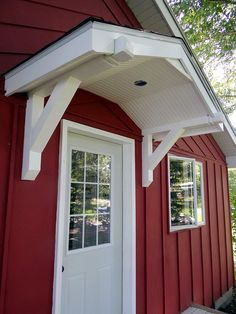 Unassuming expressed raised porch design his comment is here House Awnings, House Siding, Porch Roof, Side Porch, Side Door, Front Porches, Front Door Canopy, Front Door Decor, Door Entry