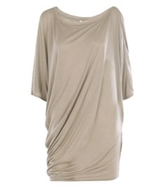 One Shoulder Slack Jersey Top by Helmut Lang. Mid grey, wide neck, off the shoulder, batwing half sleeves, long oversized jersey T-shirt, loose fit, silk neckline raw edge trim. #Matchesfashion
