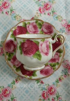 Royal Albert Old English Rose Teacup and Saucer 1940s