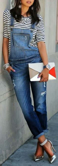 Stripes & Overalls // So Cute W/a Pop Of Metallic & Statement Jewelry ? L.o.v.e.