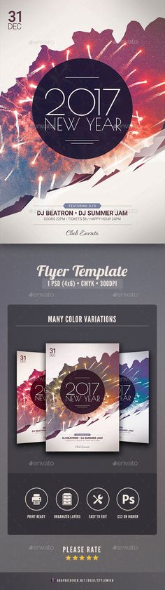 New Year Flyer Template PSD #celebration #event #nyeflyer