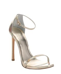 Stuart Weitzman gold iridescent leather 'Nudist' stiletto sandals