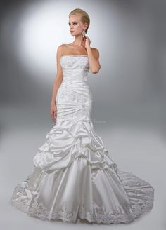 Floor Length A line Strapless Organza & Taffeta Bridal Gown With Pick ups