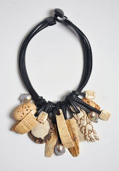 Monies Carved Bone, Mammoth Bone, Antler, Ebony & Pearl Necklace