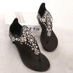 Rivets Decorated Slip-On Flip Flop Flat Heels Women Summer Sandals