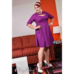 PRE-ORDER - Daphne - Plum Dot $236.00 http://www.curvyclothing.com.au/index.php?route=product/product&path=95_151&product_id=9298