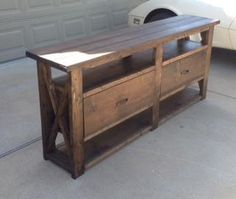 2 Rustic X consoles with drawers and one with an extra shelf Diy Home Furniture, Loft Furniture, Building Furniture, Diy Furniture Projects, Diy Wood Projects, Repurposed Furniture, Furniture Plans, Home Projects, Furniture Design