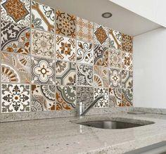 Adesivos de parede para cozinha de azulejo em cores alegres