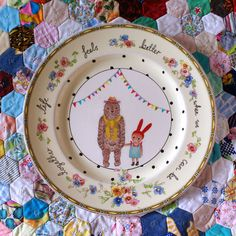 The story book rabbit - Life Feels Better Bear and Bunny Vintage Illustrated Plate