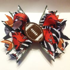 Arkansas Razorback Hair bow https://www.facebook.com/pages/Queenie-Maries-Designs/125188977507218