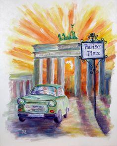Painting «Pariser Platz Berlin» by Nadine Lière, Acrylic on canvas board, 40 x 50 cm, 2016, http://grenadine-art.eu