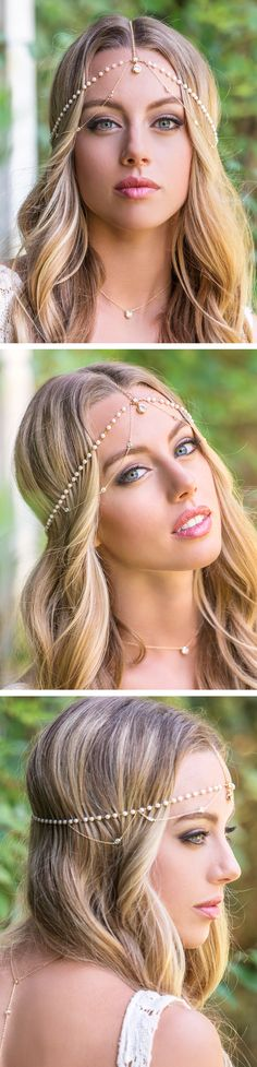 This one of a kind handmade bridal headpiece is a unique and luxurious item. The cubic zirconia stones and glass pearls create a gorgeous bohemian look while the contrasting 14K gold delicate chain ad
