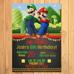 Super Mario Brothers Thank You Card Chalkboard * Super Mario Brothers Birthday * Mario Printable * Super Mario Party Favors - Thank You Card Super Mario Brothers, Super Mario Bros, Mario Bros Y Luigi, Super Mario Birthday, Mario Birthday Party, Super Mario Party, Birthday Party Invitations, Party Favors, Birthday Ideas