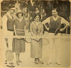 Tom Mallory, Zasu Pitts, Florence Vidor, King Vidor playing tennis