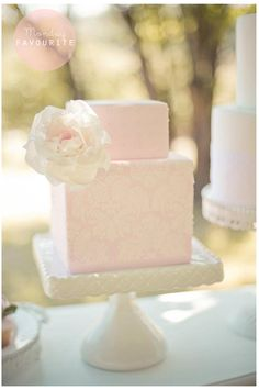 Pink square two tier with rose Square Wedding Cakes, Wedding Cake Roses, Square Cakes, Lace Wedding, Pretty Cakes, Cute Cakes, Beautiful Cakes, Amazing Cakes, Damask Cake