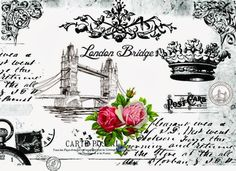 London and Crown Decoupage Vintage, Decoupage Paper, Photo Transfer, Transfer Paper, Vintage Tags, Vintage Ephemera, Vintage Retro, Etiquette Vintage, Label Paper