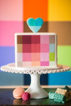 Colorful, pixelated cake