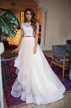 5d07bebc2b Tulle skirt wedding dress with horsehair trim