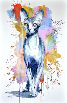 Sphinx Cat Painting by Steven Ponsford
