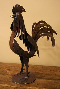 Metal Rooster Sculpture