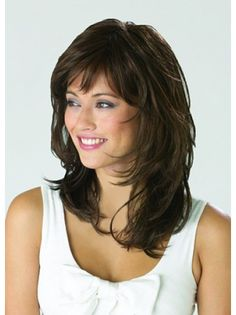 Monofilament Shining Wavy Synthetic Medium Wigs, Medium Length Hair Pieces Monofile g Medium Shag Hairstyles, Hairstyles With Bangs, Cool Hairstyles, Hairstyle Hacks, Evening Hairstyles, Makeup Hairstyle, Hairstyles 2016, Elegant Hairstyles, Black Hairstyles
