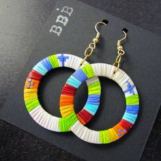 Quill hoop earrings by Lonna Jackson (Dakota/Chippewa)