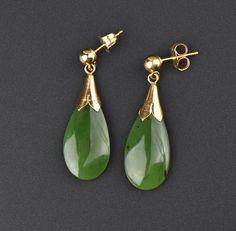 Green Jade 14K Gold Long Drop Earrings  #Natural #Earrings #Green #Gold #14K #Jade #Paste #Wrap #Chrysoprase #Pocket