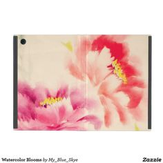"""Watercolor Blooms iPad Mini Cover. Designed for the Apple iPad Mini, iPad Mini 2, and iPad Mini 3. Custom designs printed on 100% recycled hardboard and laminated front and back. Flexible and secure iPad cradle with openings for camera/port access . Non-slip edge design for free-standing landscape view. Constructed in Berkeley, CA. Dimensions: 8.25"""" L x 5.68"""" W x 0.75""""H."""