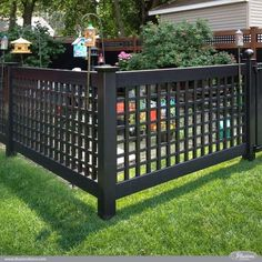Black PVC Vinyl Old English Lattice Fence with New England Caps from Illusions Vinyl Fence is the perfect garden fence. Backyard Privacy, Backyard Fences, Garden Fencing, Fenced In Yard, Outdoor Pergola, Pergola Ideas, Patio Ideas, Garden Ideas, Garden Fence Panels