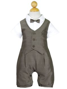 This adorable little romper set will make sure all eyes are on your sweet little boy. Featuring prim styling with a vest and pants design topped with a charming bow tie, this once piece look is well s