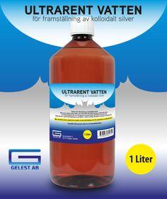 Vatten för tillverkning av kolloidalt silver.  Ultrarent vatten utan salter och mineraler för tillverkning av kolloidalt silver.  En nödvändighet för att silverjonerna skall förbli i kolloidal form och inte  bilda kluster, (sammanslagning av partiklar), vilket kraftigt försämrar kvalitet och hållbarhet.  Obs: destillerat eller avjoniserat vatten är inte tillräckligt rent för produktion av kolloidalt silver.  Innehåll: Ultrarenat vatten av livsmedelskvalitet.