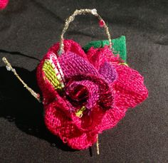 Corsage which I made with the rest of the Saori material