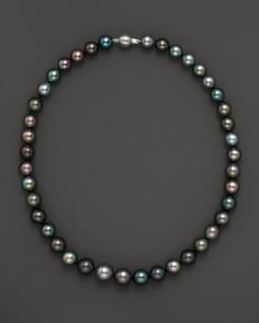 Natural Color Tahitian Pearl And 14K White Gold Strand Necklace, 18""