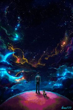 A man and his furry buddy contemplating the cosmos. Not a photo, but something to fuel the imagination, which is essential to a full life. Keep observing the cosmos and pushing forward with science. Fantasy World, Fantasy Art, Art Galaxie, Digital Foto, Image Nature, Galaxy Art, Fantasy Landscape, Anime Scenery, Psychedelic Art